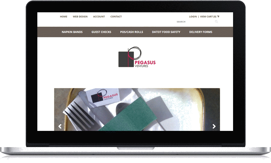 Ecommerce from Pegasus Ventures selling restaurant napkin bands for our own website