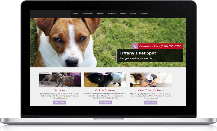 Tiffany's Pet Spot uses Pegasus Ventures Michigan, local  web design company