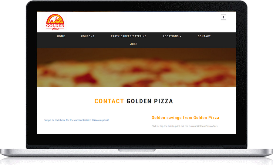 Get your  website built by Pegasus Ventures , truly local website design, getting results for Golden Pizza l