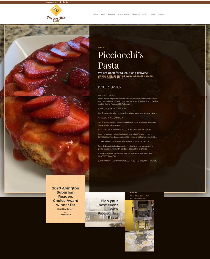 Picciocchi's Pasta in Clarks Summit, Pennsylvania Pegasus Ventures Website Designer Portfolio